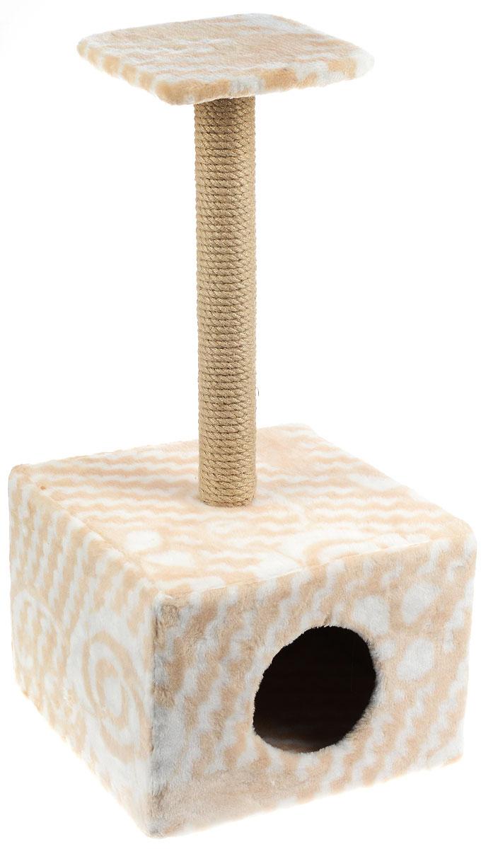 Игровой комплекс для кошек Меридиан, с полкой и домиком, цвет: белый, бежевый, 39 х 39 х 80 смД114 ЦвИгровой комплекс для кошек Меридиан выполнен из высококачественного ДВП и ДСП и обтянут искусственным мехом. Изделие предназначено для кошек. Ваш домашний питомец будет с удовольствием точить когти о специальный столбик, изготовленный из джута. А отдохнуть он сможет либо на полке, находящейся наверху столбика, либо в расположенном внизу домике. Общий размер: 39 х 39 х 80 см. Размер полки: 24 х 24 см. Размер домика: 39 х 39 х 30 см.