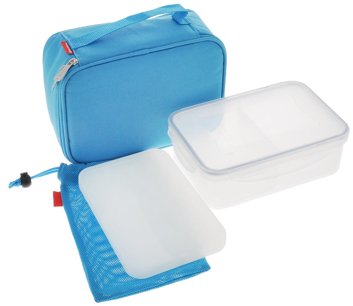 """Термосумка Tescoma """"Сoolbag"""", с гелевым охладителем, с контейнером, цвет: голубой, 24 х 18 х 9,5 см 892320_голубой"""