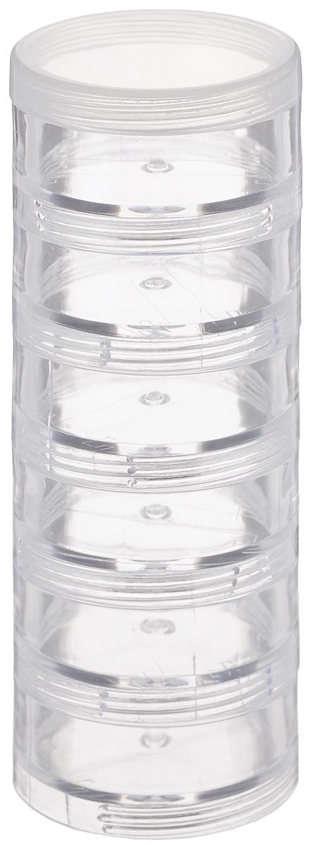 Контейнер для мелкой фурнитуры Hemline, круглый, 6-ярусный, 4 х 11,5 смM3008/SКруглый контейнер Hemline, выполненный из пластика, предназначен для мелкой фурнитуры, например, бисера, бусин, страз, булавок и прочих мелочей для шитья. Имеет 6 отделений, которые накручиваются друг на друга. Размер одного отделения: 4 х 1,7 см. Общий размер контейнера: 4 х 11,5 см.