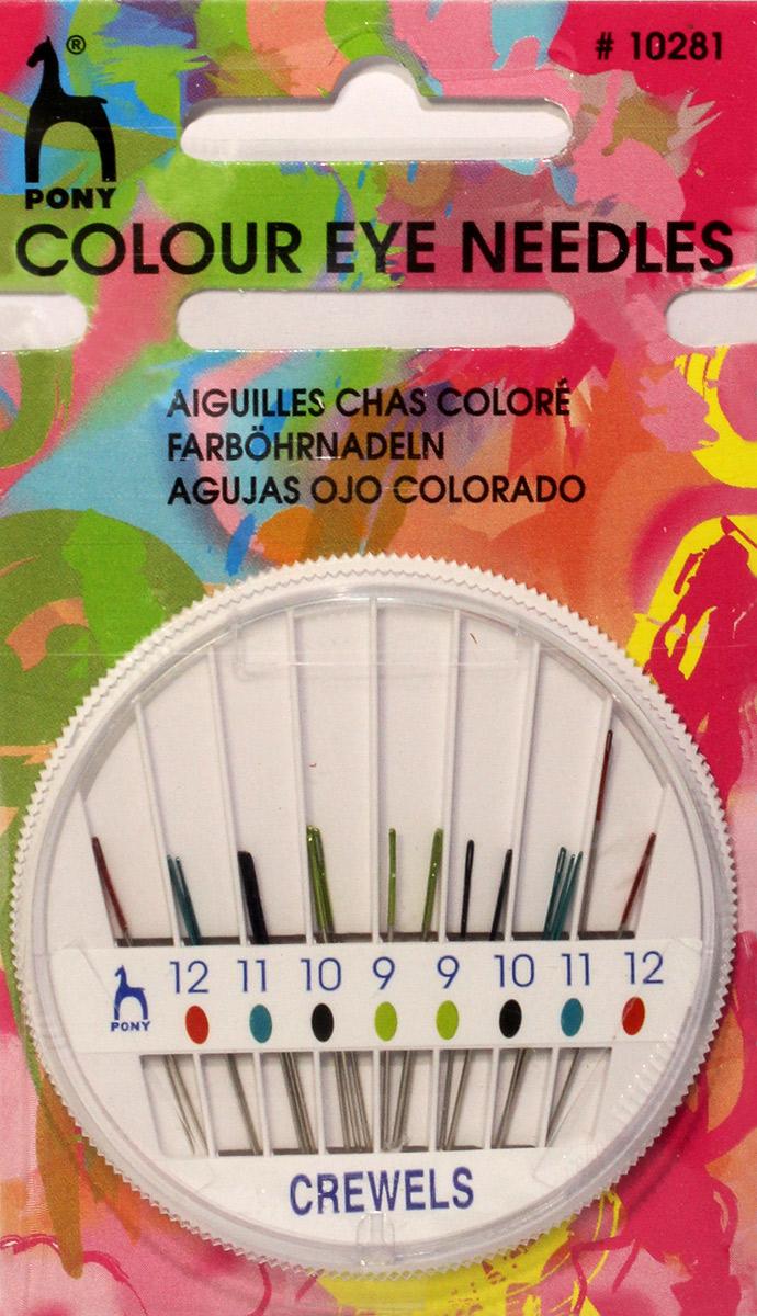 PONY Иглы для вышивания и бисера № 9-12, 24 шт, в розетке. 1028110281Для вышивания и бисера. Сталь. Ассорти. Цветное ушко. Диаметр иглы 0,53-0,35 мм, длина иглы 34,5-29,0 мм. Розетка.