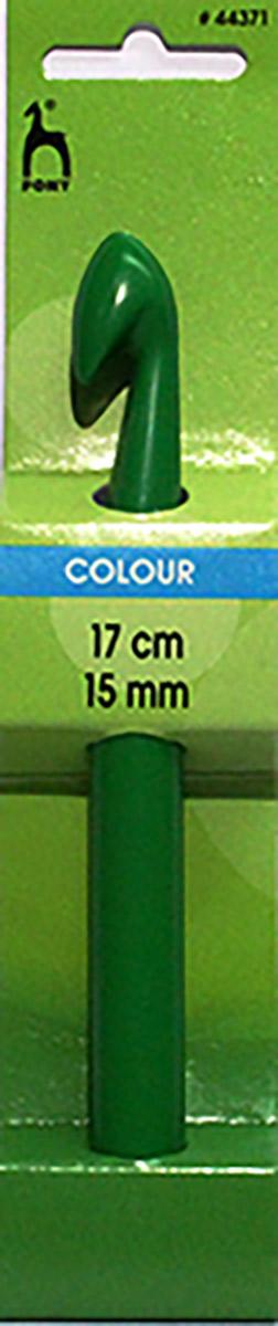 PONY Крючок вязальный 15,00 мм/ 17 см, пластик, цветной. 4437144371Крючок вязальный цветной. Пластик. Длина 17 см, диаметр 15 мм. Картон.