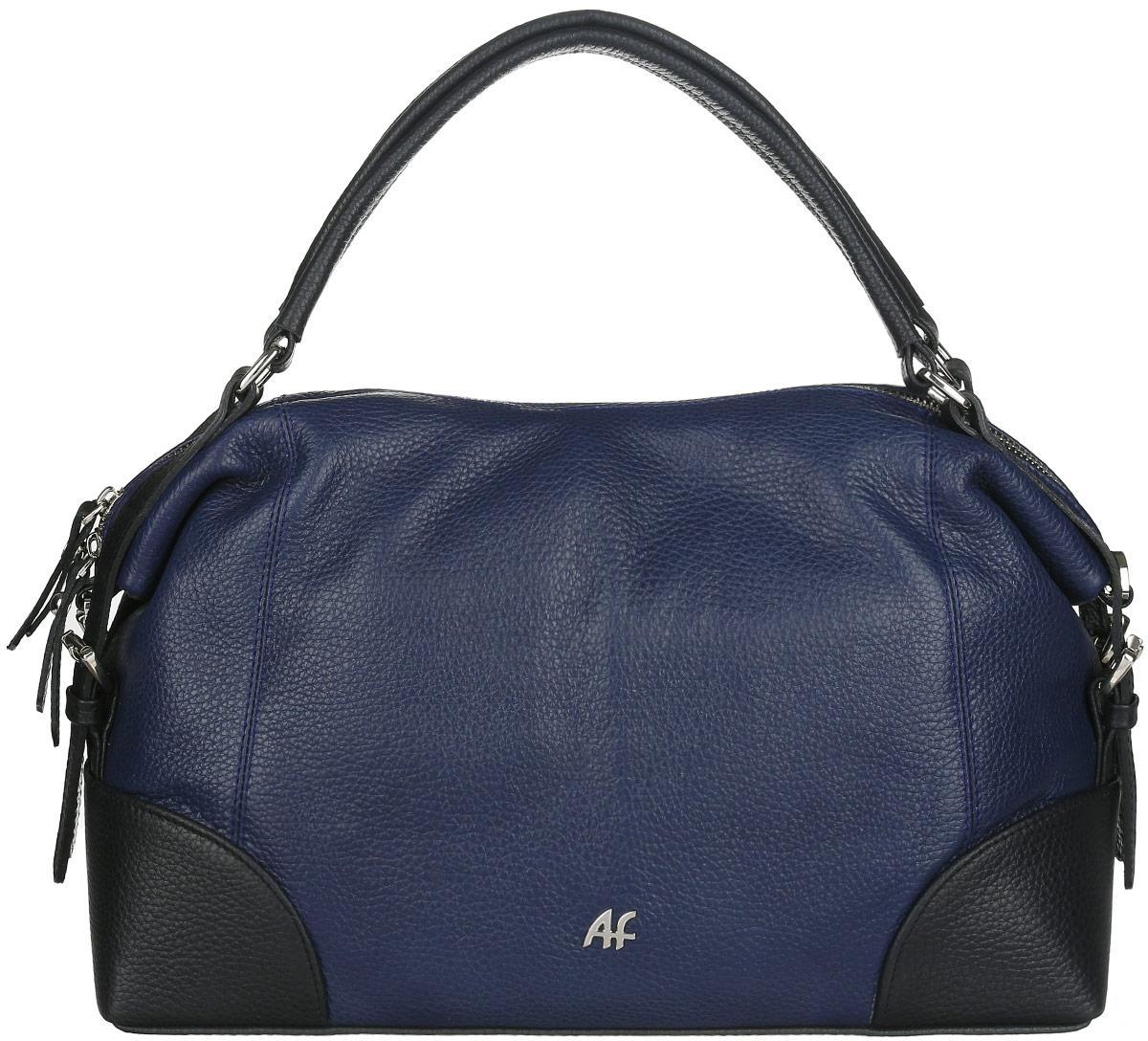 Сумка женская Afina, цвет: темно-синий, черный. 40784078Стильная женская сумка Afina выполнена из натуральной кожи с фактурным тиснением и оформлена по бокам ремешками с металлическими пряжками. Изделие имеет одно отделение, которое закрывается застежку-молнию. Внутри сумки находятся два накладных открытых кармана и прорезной карман на застежке-молнии. Снаружи, на задней стенке расположен прорезной карман на застежке-молнии. Сумка оснащена двумя удобными ручками. В комплект входит съемный регулируемый плечевой ремень. Стильная сумка идеально подчеркнет ваш неповторимый стиль.
