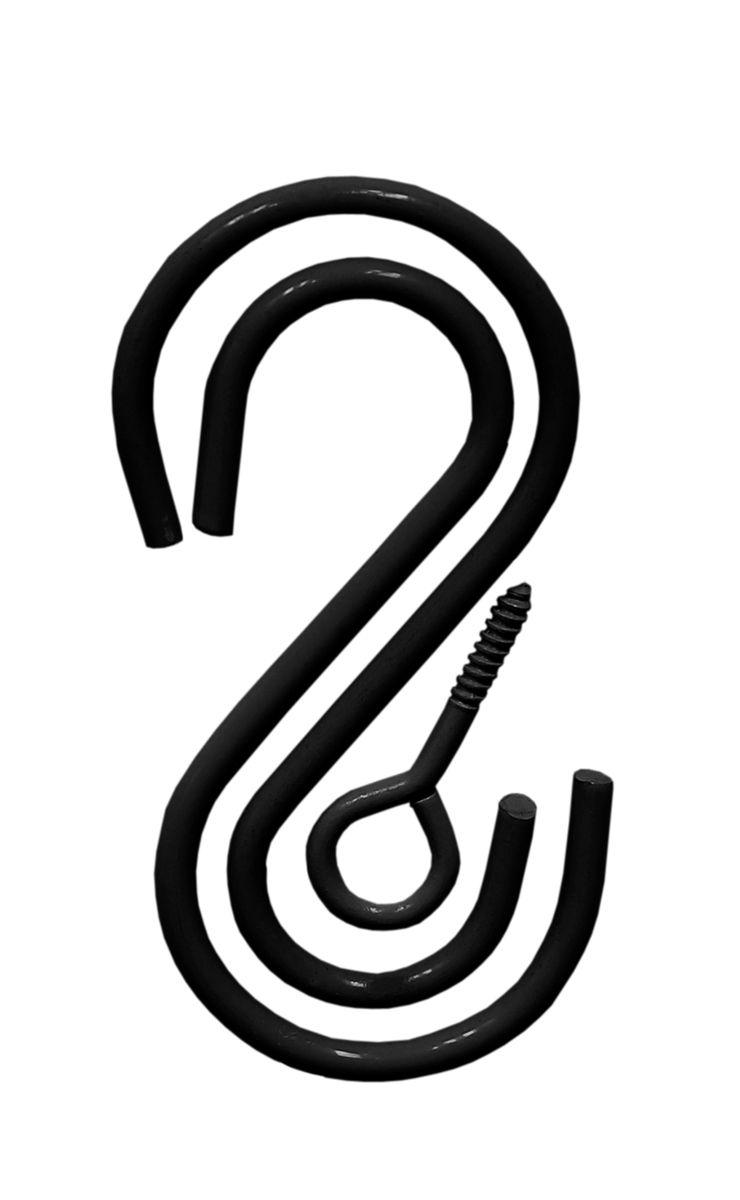 Комплект крючков S-образных Masterprof, 3 штHS.040015Комплект из двух S - образных крючков и самореза с петлей, для подвешивания кашпо. Подходит для использования внутри и снаружи помещений. Размер 9х4,5 см. Нагрузка 22,7 кг. Цвет - Черный.