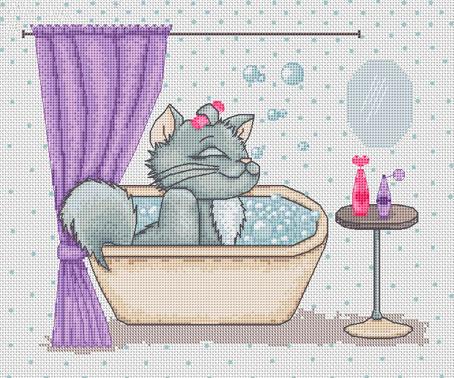 Набор для вышивания Luca-S Кошка в ванной , 24 см х 19 смB1032Набор для вышивания Кошка в ванной, Luca-S, канва Aida 14/5236 Zweigart, мулине Anchor 25 цветов, игла, ч/б схема, счетный крест