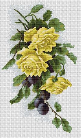 Набор для вышивания Luca-S Жёлтые розы со сливами , 18,5 см х 32,5 смB2230Набор для вышивания Жёлтые розы со сливами , Luca-S, канва Aida 16/101 Zweigart, мулине Anchor 29 цветов , игла, ч/б схема, счетный крест, 18,5 х 32,5 см