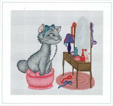 Набор для вышивания Luca-S Кошка у туалетного столика , 24,5 см х 22,5 смB1035Набор для вышивания Кошка у туалетного столика , Luca-S, канва Aida 14/100 Zweigart, мулине Anchor 27 цветов, игла, ч/б схема, счетный крест, 24,5х22,5 см