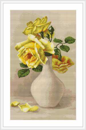Набор для вышивания Luca-S Желтые розы в белой вазе, 18 см х 28 смG508Набор для вышивания Желтые розы в белой вазе, Luca-Sканва для гобелена, 10 клеток в 1см,мулине Anchor , 33 цвета , игла, ч/б схема, 18х28 см Ткань разграничена на клетки по 10 пунктов, как и на схеме, что существенно облегчает работу вышивальщицы.
