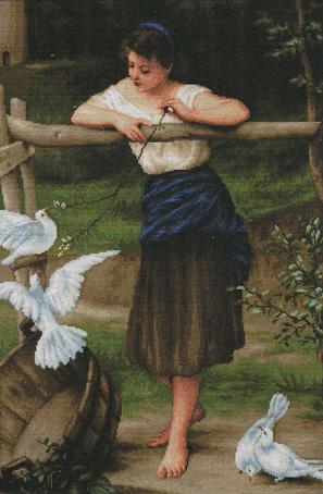 Набор для вышивания Luca-S Девушка дразнящая голубей, 31 см х 46 смB516Набор для вышивания Девушка дразнящая голубей, Luca-S, канва 18/264 Aida Zweigart, мулине Anchor 46 цветов, игла, ч/б схема, счетный крест, 31,0 х 46,0 см Ткань разграничена на клетки по 10 пунктов, как и на схеме, что существенно облегчает работу вышивальщицы.