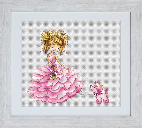 Набор для вышивания Luca-S Принцесса, 16 см х 13 см х 0,5 смB1056Набор для вышивания Принцесса, Luca-S, Лука-С, канва 16/100-101 Aida Zweigart, мулине Anchor 20 цветов , игла, ч/б схема, 16 х13 ,5 см