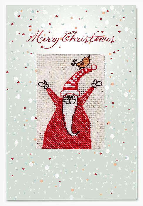 Набор для изготовления открытки Luca-S Санта, 14,8 см х 21 см(S)P-39Набор для изготовления открытки Санта, 148 х 210 мм Набор для самостоятельного изготовления открытки.Полная сборка,содержит элементы для вышивания.
