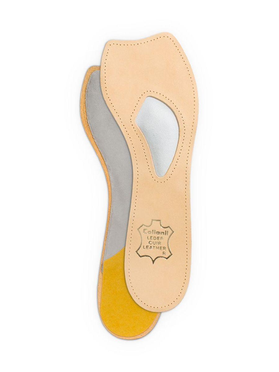Самоклеющаяся стелька для поддержания тонуса мышц ступни Collonil Madame. Размер 429042 420Самоклеющаяся кожаная стелька с встроенной подушечкой для поддержания тонуса мышц ступни (подходит для обуви с высоким каблуком)