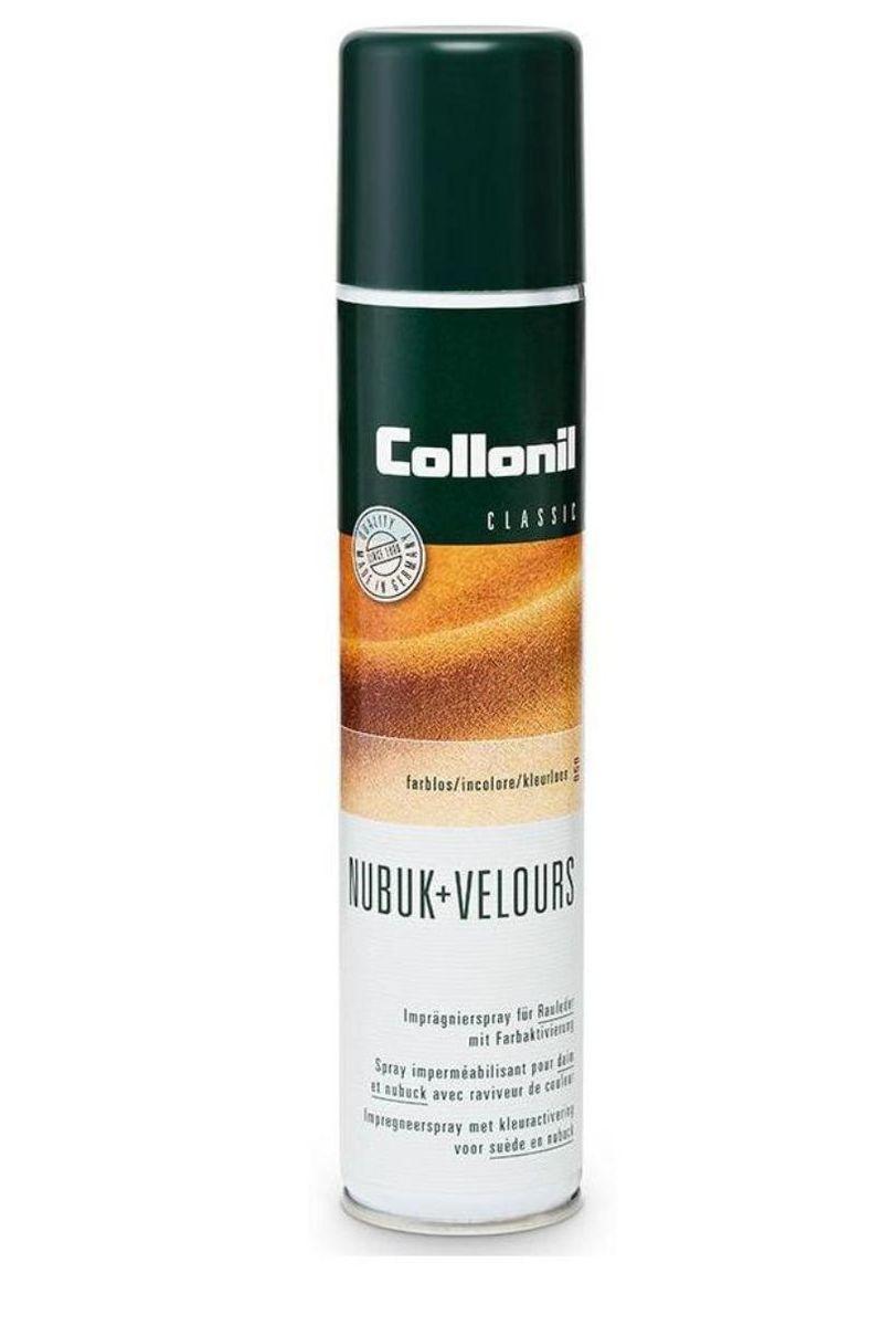 Спрей для обуви Collonil Nubuk+Velours, для замши, велюра, нубука, цвет: темно-синий (546), 200 мл1592 546Спрей Collonil Nubuk+Velours на основе фтора предназначен для ухода и защиты изделий из замши, велюра, нубука, текстиля и мембран. Обеспечивает длительную защиту от влаги, грязи и жира. Сохраняет воздухопроницаемость и качество материала. Обновляет цвет.
