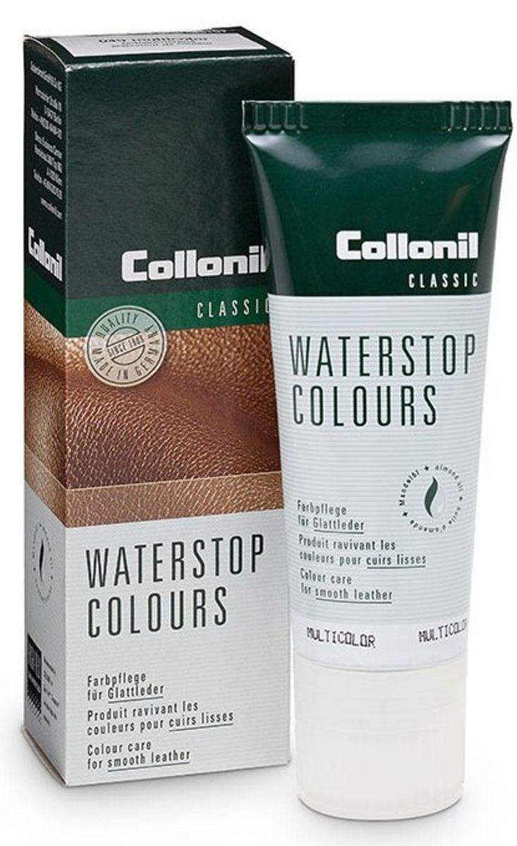 Крем для обуви снего-водоотталкивающий Collonil Waterstop Tube , цвет: 050 бесцветный, 75 мл3303 050Крем для ухода за гладкой кожей. Обеспечивает снего и водоотталкивание, предохраняет от глубоких загрязнений. Содержит воск и питательные масла.