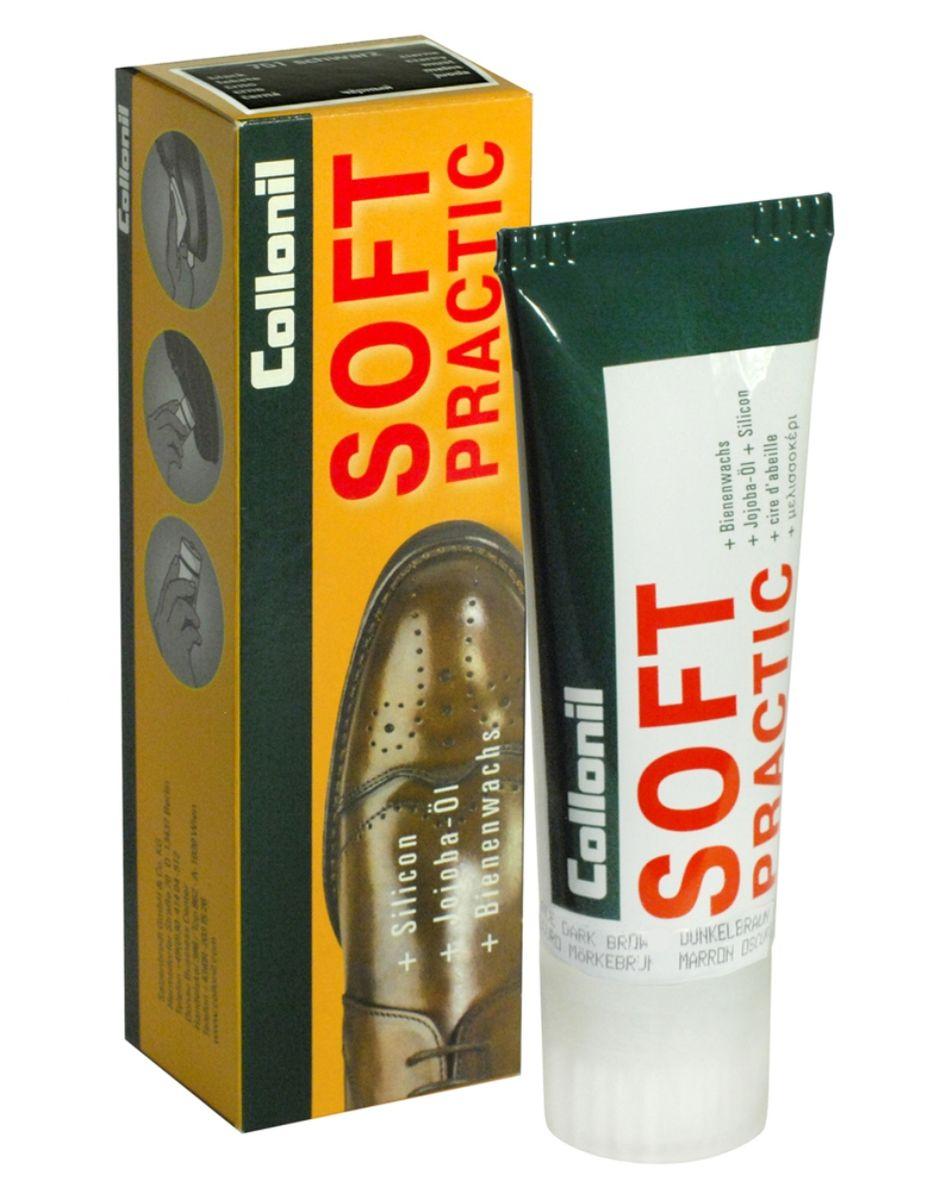 Крем для обуви с маслом Jojoba Collonil Soft Practic , цвет: 399 темно-коричневый, 75 мл3763 399Крем для чувствительной гладкой кожи. Защищает, отталкивает воду, предотвращет проникновение грязи, обеспечивает мягкость кожи за счет использования масла jojoba и силикона.