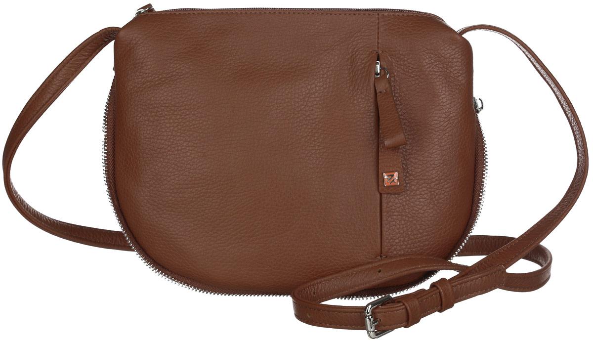 Сумка женская Afina, цвет: коричневый. 40834083Стильная женская сумка Afina выполнена из натуральной кожи с фактурным тиснением и оформлена вдоль боковых сторон и основания металлической застежкой-молнией. Изделие имеет одно отделение, которое закрывается на застежку-молнию. Внутри сумки находятся прорезной карман на застежке-молнии и два накладных открытых кармана. Снаружи, на задней и передней стенках расположены прорезные карманы на застежках-молниях. Сумка оснащена регулируемым плечевым ремнем. Стильная сумка идеально подчеркнет ваш неповторимый стиль.