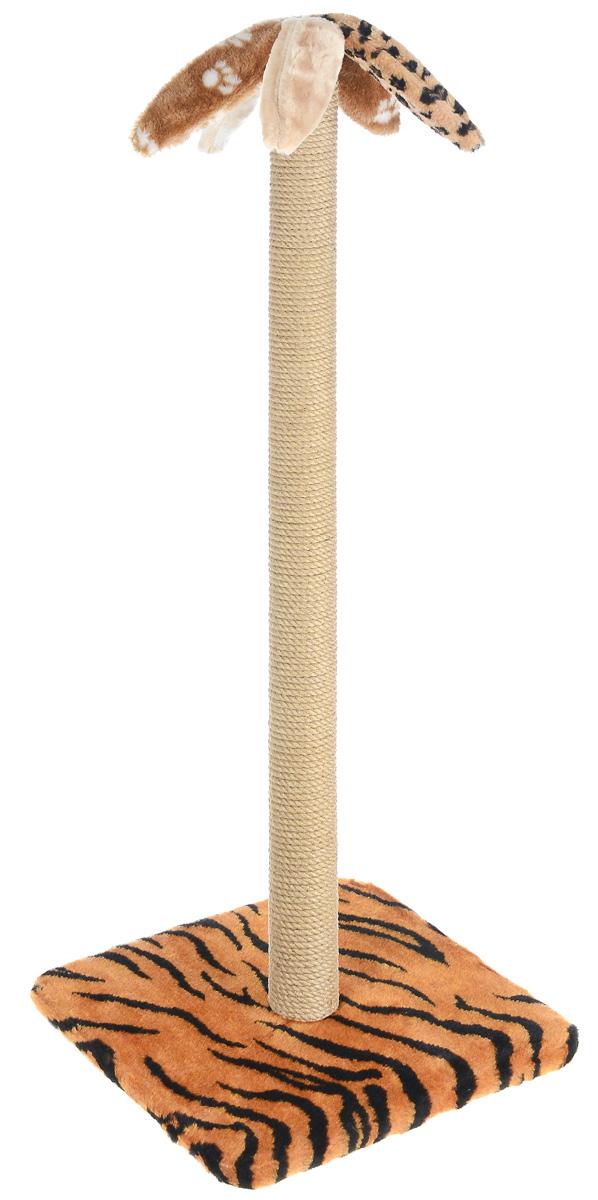 Когтеточка Меридиан Пальма, на подставке, цвет: оранжевый, черный, бежевый, высота 104 смК009_тигрКогтеточка Меридиан Пальма поможет сохранить мебель и ковры в доме от когтей вашего любимца, стремящегося удовлетворить свою естественную потребность точить когти. Когтеточка изготовлена из дерева, искусственного меха и джута. Она имеет оригинальный дизайн в виде пальмы. Товар продуман в мельчайших деталях и, несомненно, понравится вашей кошке. Всем кошкам необходимо стачивать когти. Когтеточка - один из самых необходимых аксессуаров для кошки. Для приучения к когтеточке можно натереть ее сухой валерьянкой или кошачьей мятой. Когтеточка поможет вашему любимцу стачивать когти и при этом не портить вашу мебель. Размер основания: 37 х 37 см. Высота когтеточки: 104 см.