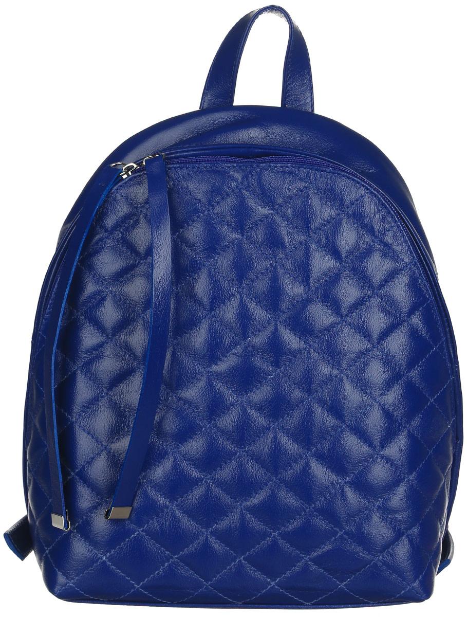 Рюкзак женский Afina, цвет: синий. 64106410Стильный женский рюкзак Afina выполнен из натуральной кожи. Лицевая сторона оформлена стежкой. Изделие имеет одно основное отделение, закрывающееся на застежку-молнию. Внутри расположены прорезной карман на застежке-молнии, накладной открытый карман с отделением на застежке-молнии и два накладных открытых кармана. Снаружи, на задней стенке находится прорезной карман на застежке-молнии. Рюкзак оснащен удобными лямками регулируемой длины и ручкой для переноски в руке. Практичный и стильный аксессуар позволит вам завершить свой образ и быть неотразимой.
