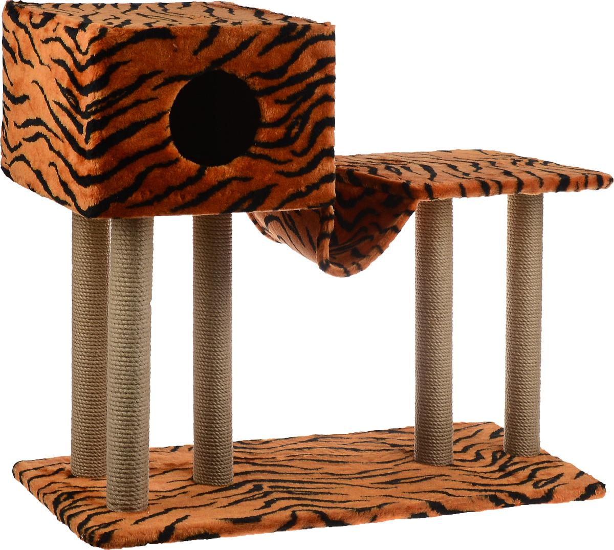 Игровой комплекс для кошек Меридиан, с домиком и гамаком, цвет: оранжевый, черный, бежевый, 90 х 40 х 80 смД126 ТИгровой комплекс для кошек Меридиан выполнен из высококачественного ДВП и ДСП и обтянут искусственным мехом. Изделие предназначено для кошек. Ваш домашний питомец будет с удовольствием точить когти о специальные столбики, изготовленные из джута. А отдохнуть он сможет в домике, на полках или в удобном гамаке. Общий размер: 90 х 40 х 80 см. Размер основания: 90 х 40 см. Высота полки: 53 см. Размер домика: 40 х 40 х 28 см. Размер полки: 39 х 39 см.
