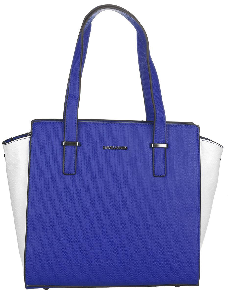 Сумка женская David Jones, цвет: синий, белый. СМ3040СМ3040 BLUEСтильная женская сумка David Jones выполнена из искусственной кожи. По бокам сумка оформлена тиснением под крокодила. Изделие имеет одно отделение, закрывающееся на застежку-молнию. Внутри сумки находятся два накладных открытых кармана и прорезной карман на застежке-молнии. Снаружи, на задней стенке расположен прорезной карман на застежке-молнии. Сумка оснащена двумя удобными ручками. В комплект входит съемный регулируемый плечевой ремень. Основание изделия защищено от повреждений металлическими ножками. Стильная сумка идеально подчеркнет ваш неповторимый стиль.