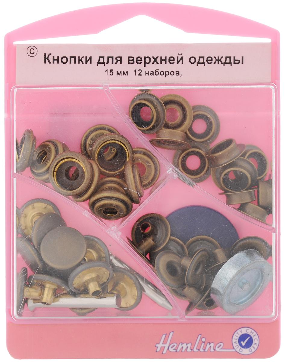 Кнопки для верхней одежды Hemline, с инструментом для установки, цвет: античная латунь, диаметр 15 мм, 12 наборов405S.AКнопки для верхней одежды Hemline премиум качества, выполненные из высококачественного металла, предназначены для верхней одежды и сумок. Для обеспечения толщины между слоями ткани не менее 1-2 мм используйте прокладочную ткань. В одной упаковке 12 наборов, каждый из которых состоит из 4 элементов. Также в комплекте имеется инструмент для установки. На обратной стороне упаковки представлена подробная инструкция по установке кнопок. Диаметр кнопок: 15 мм.