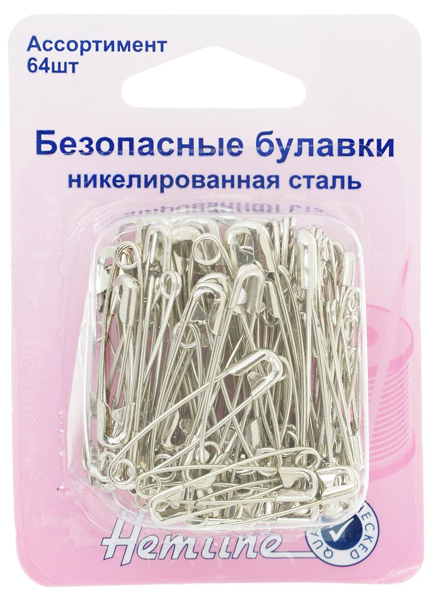 Булавки безопасные Hemline, 64 шт410.99.64Булавки безопасные Hemline, выполненные из никелированной стали, не гнутся и не ломаются. Используются при шитье, а также для временной или постоянной фиксации. В набор входит 64 булавки разной длины от 2,7 см до 3,7 см.