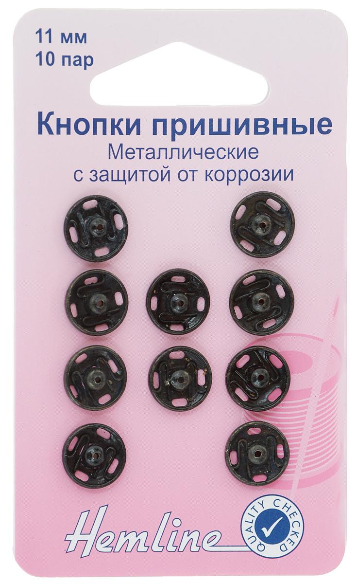 Кнопки пришивные Hemline, цвет: черный, диаметр 11 мм, 10 шт421.11Пришивные кнопки Hemline, изготовленные из латуни с защитой от коррозии, используются при ремонте и пошиве одежды. Идеально подходят для одежды из ткани средней плотности. Оснащены отверстием для фиксации. Кнопки собираются из 2 частей. Диаметр кнопки: 11 мм.