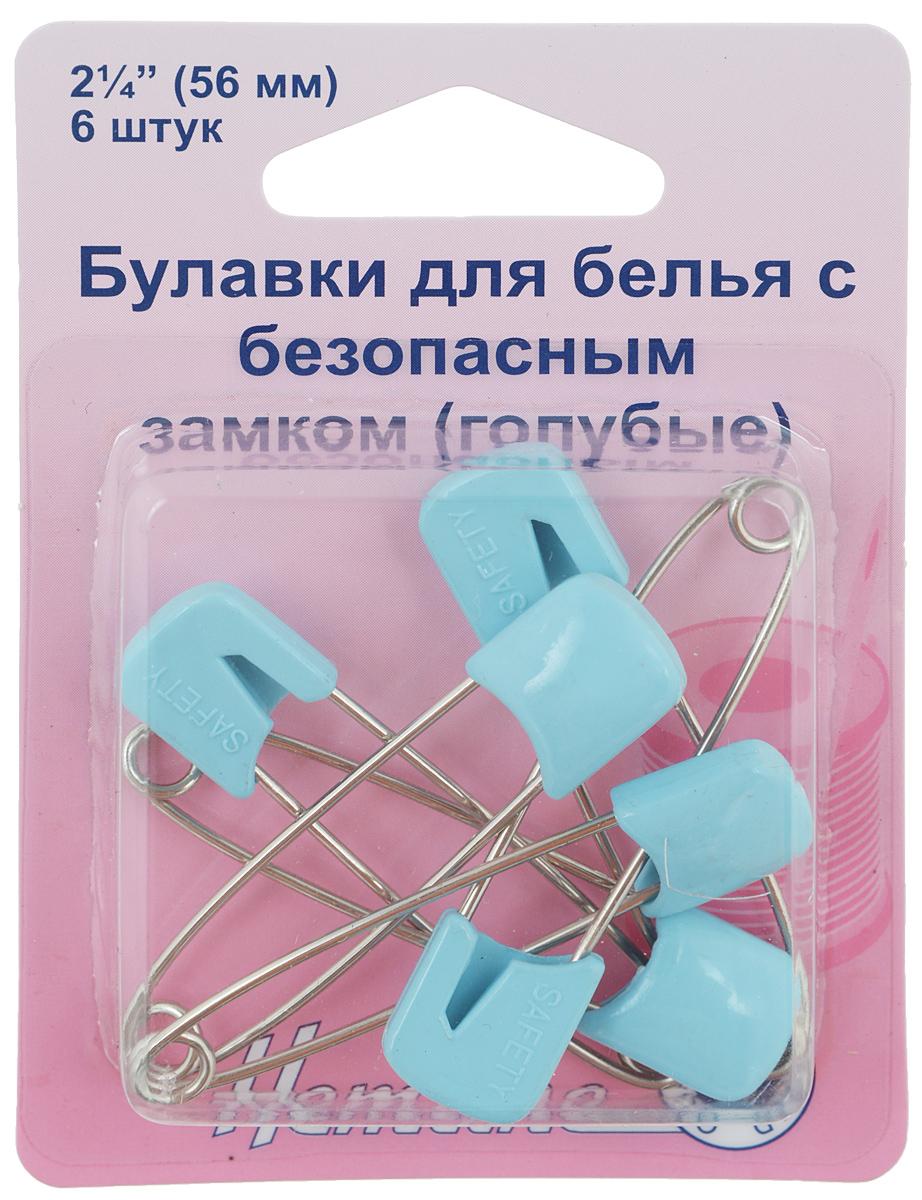 Булавки бельевые Hemline, цвет: голубой, длина 56 мм, 6 шт413.BБулавки Hemline используются для закрепления краев пододеяльника, наволочки и другого белья. Выполнены из высококачественного металла с головкой из пластика. Ограничитель препятствует случайному открытию. В комплект входит 6 булавок. Длина булавки: 5,6 см.