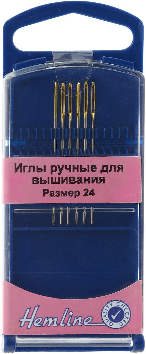 Иглы ручные для вышивания Hemline, с закругленным кончиком, №24, 6 шт283G.24Ручные иглы для вышивания Hemline выполнены из высококачественной стали. Закругленный кончик игл при вышивании не рвет канву. Специальное увеличенное ушко позволяет продевать пряжу для вышивания и толстые нити. Размер: 24. Длина иглы: 3,7 см.