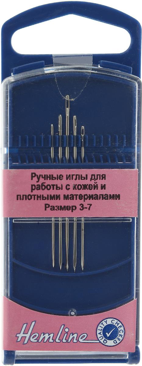 Набор ручных игл Hemline, для работы с кожей и плотными материалами, №3-7, 5 шт217G.37Иглы Hemline выполнены из высококачественной стали. Треугольный кончик разработан специально для легкого прокалывания кожи. Иглы также предназначены для работы с плотными материалами, такими как винил и пластик. Усовершенствованные, для многократного применения. Иглы упакованы в пластиковый футляр для хранения. Длина игл: 3,6 см; 3,8 см; 4,9 см. Размер: №3-7