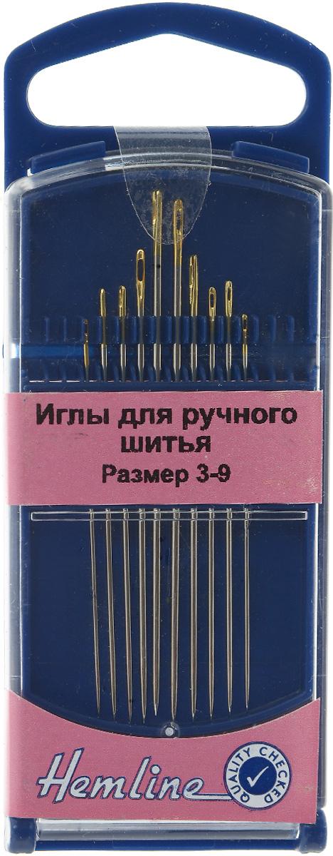 Иглы ручные Hemline, для модистока, №3-9, 10 шт. 287G.39287G.39Ручные иглы для ручного шитья Hemline выполнены из высококачественной стали. Острый кончик игл идеален для вышивания мелких деталей. Имеют удлиненное ушко для более легкого продевания нити. Размер: №3-9. Средняя длина игл: 4,2 см.