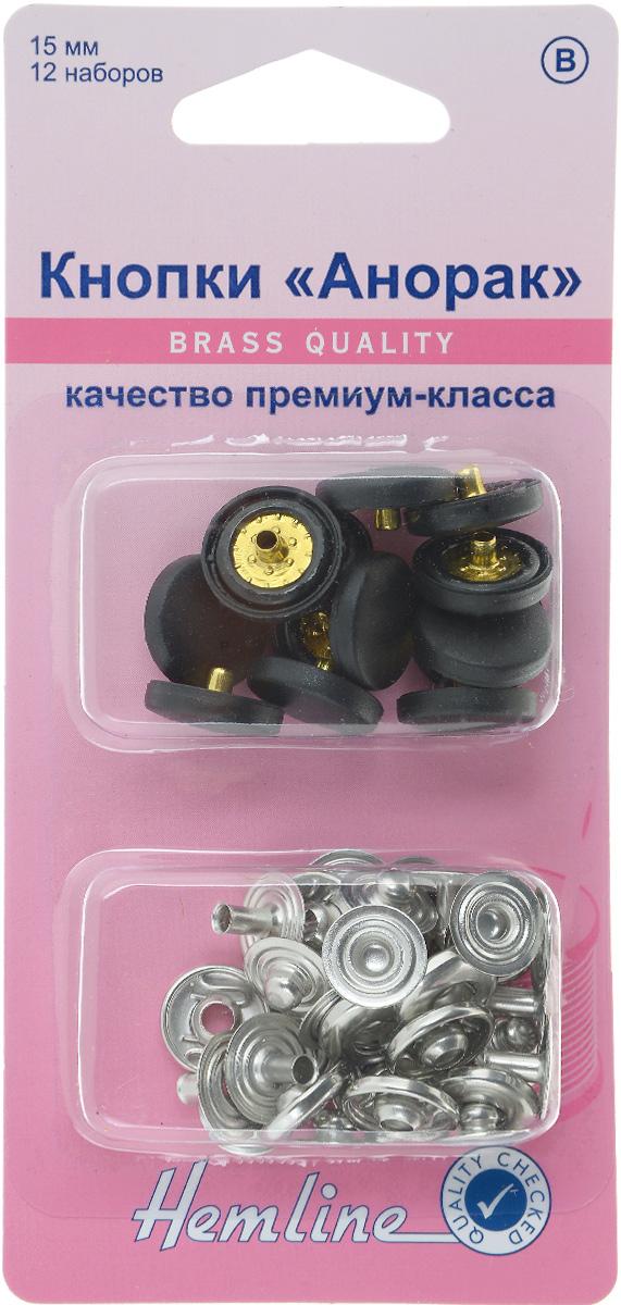 Кнопки Hemline Анорак, цвет: черный, стальной, диаметр 15 мм, 12 наборов. 404R.BK404R.BKКнопки Hemline Анорак, выполненные из металла с пластиковыми декоративными шапочками, предназначены для крупных и тяжелых тканей. Для обеспечения толщины между слоями ткани не менее 1-2 мм используйте подкладочную ткань. В одной упаковке 12 наборов, каждый из которых состоит из 4 элементов. На обратной стороне упаковки представлена подробная инструкция по установке кнопок. Диаметр кнопки: 15 мм.
