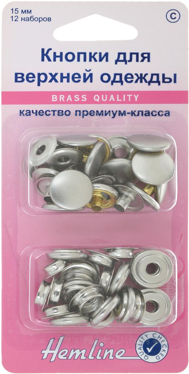 Кнопки для верхней одежды Hemline, цвет: никель, диаметр 15 мм, 12 наборов405R.NКнопки Hemline, выполненные из металла, предназначены для крупных и тяжелых вещей и для обеспечения толщины между слоями ткани не менее 1-2 мм. На оборотной стороне имеется инструкция. Диаметр кнопки: 15 мм.
