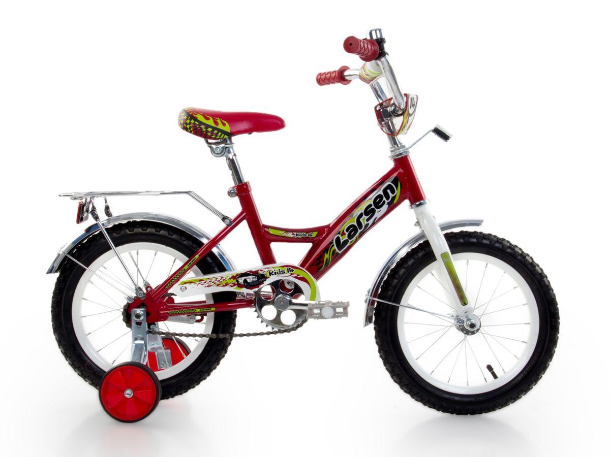 Велосипед детский Larsen Kids 14, цвет: красный336209Рама: сталь. Вилка: жесткая, сталь. Количество скоростей: 1. Размер колес: 14. Резина: 14х2.125; BMX PATTERN. Передний переключатель: нет. Задний переключатель: нет. Обода: стальные усиленные 14. Тормоза: втулочные, ножные тормоза. Дополнительное оборудование: гудок, отражатели, дополнительные колеса, крылья.