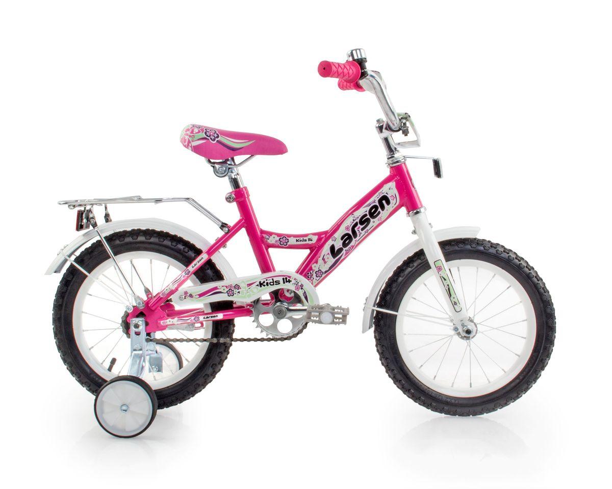 Велосипед детский Larsen Kids 14, цвет: розовый336211Рама: сталь. Вилка: жесткая, сталь. Количество скоростей: 1. Размер колес: 14. Резина: 14х2.125; BMX PATTERN. Передний переключатель: нет. Задний переключатель: нет. Обода: стальные усиленные 14. Тормоза: втулочные, ножные тормоза. Дополнительное оборудование: гудок, отражатели, дополнительные колеса, крылья.