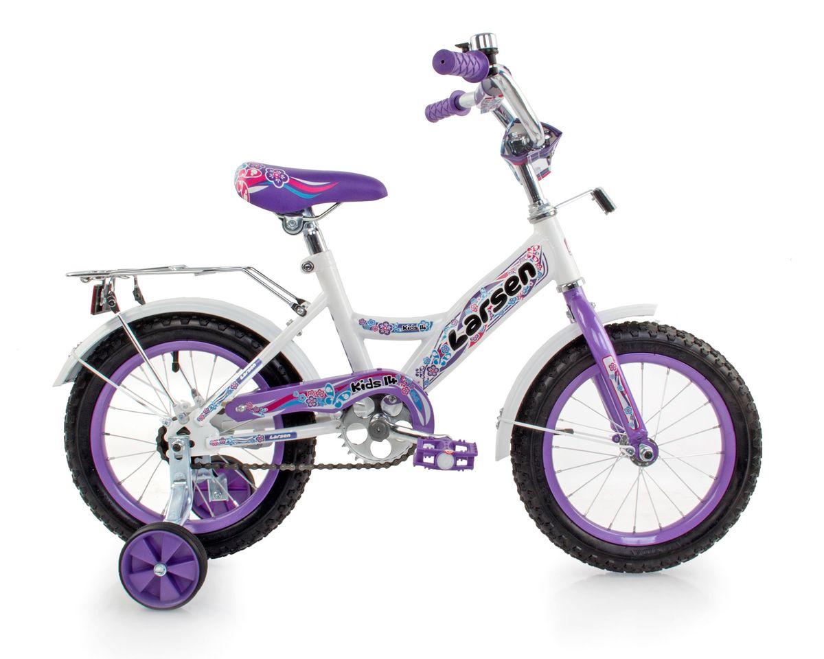 Велосипед детский Larsen Kids 14, цвет: белый, фиолетовый336212Рама: сталь. Вилка: жесткая, сталь. Количество скоростей: 1. Размер колес: 14. Резина: 14х2.125; BMX PATTERN. Передний переключатель: нет. Задний переключатель: нет. Обода: стальные усиленные 14. Тормоза: втулочные, ножные тормоза. Дополнительное оборудование: гудок, отражатели, дополнительные колеса, крылья.