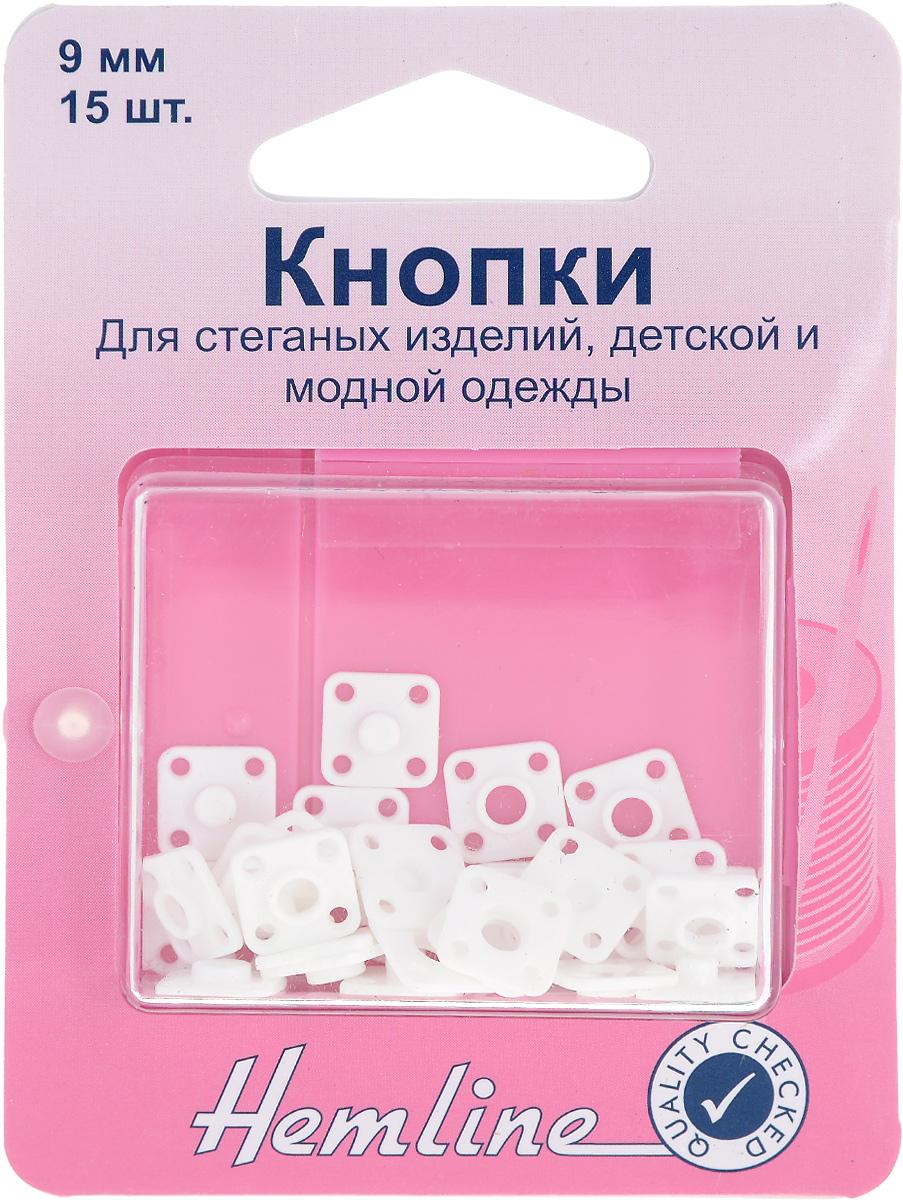 Кнопки пришивные Hemline, квадратные, 9 х 9 мм, 15 шт423Пришивные кнопки Hemline, изготовленные из пластика, используются для пришивания к стеганным изделиям, покрывалам и мягкой мебели. Кнопки собираются из 2 частей. Изделия хранятся в пластиковом контейнере многоразового использования. Размер кнопки: 9 х 9 мм. Количество: 15 кнопок.