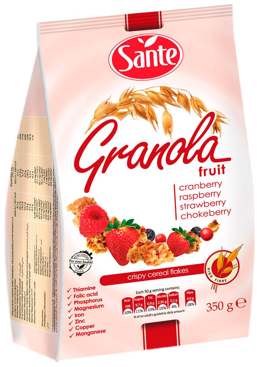 Sante Granola хрустящие злаковые хлопья с клюквой малиной клубникой, 350 г
