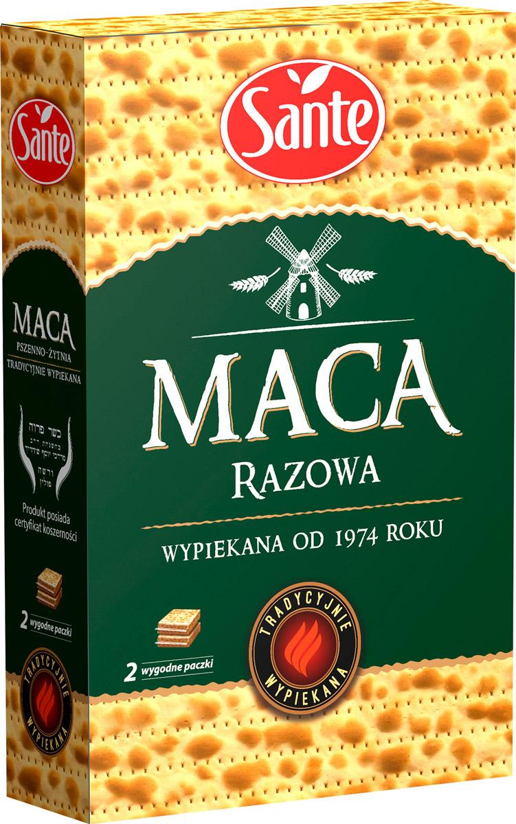 Sante маца цельнозерновая, 180 г5900617013286Маца Sante является традиционным хлебом с низким содержанием жира, который не содержит кислоты, образующиеся в процессе брожения, что делает ее чрезвычайно легкой при быстром усваивании организмом. Маца заменяет хлеб, является традиционной закуской (с сыром, ветчиной и овощами).