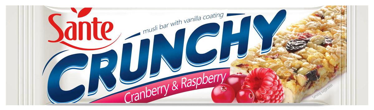 Sante Crunchy батончик мюсли с клюквой и малиной в ванильной глазури, 40 г