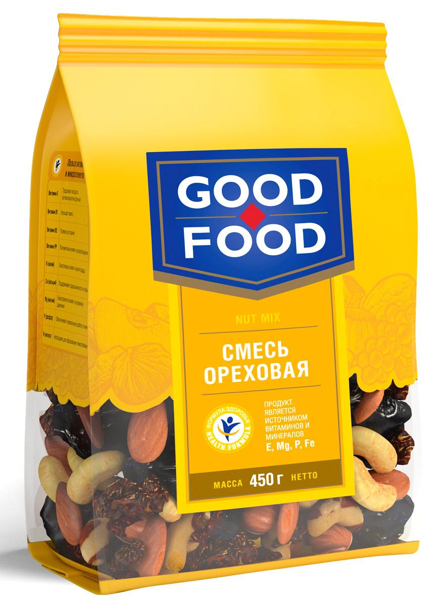 Good Food смесь ореховая, 450 г4620000671817Смесь Ореховая - это вкусный и полезный снек. Смесь включает в себя бразильский орех, изюм golden и black jumbo, кешью, миндаль и фундук. Уважаемые клиенты! Обращаем ваше внимание, что полный перечень состава продукта представлен на дополнительном изображении.