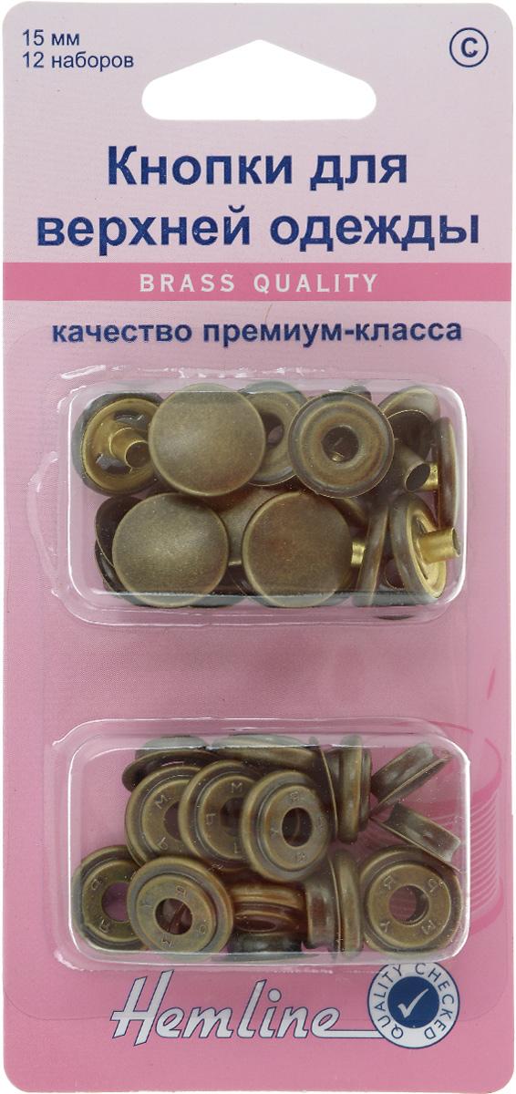 Кнопки для верхней одежды Hemline, цвет: старая бронза, диаметр 15 мм, 12 наборов405R.AКнопки для верхней одежды Hemline премиум качества, выполненные из высококачественного металла, предназначены для верхней одежды и сумок. Для обеспечения толщины между слоями ткани не менее 1-2 мм используйте прокладочную ткань. В одной упаковке 12 наборов. На обратной стороне упаковки представлена подробная инструкция по установке кнопок. Диаметр кнопок: 15 мм.