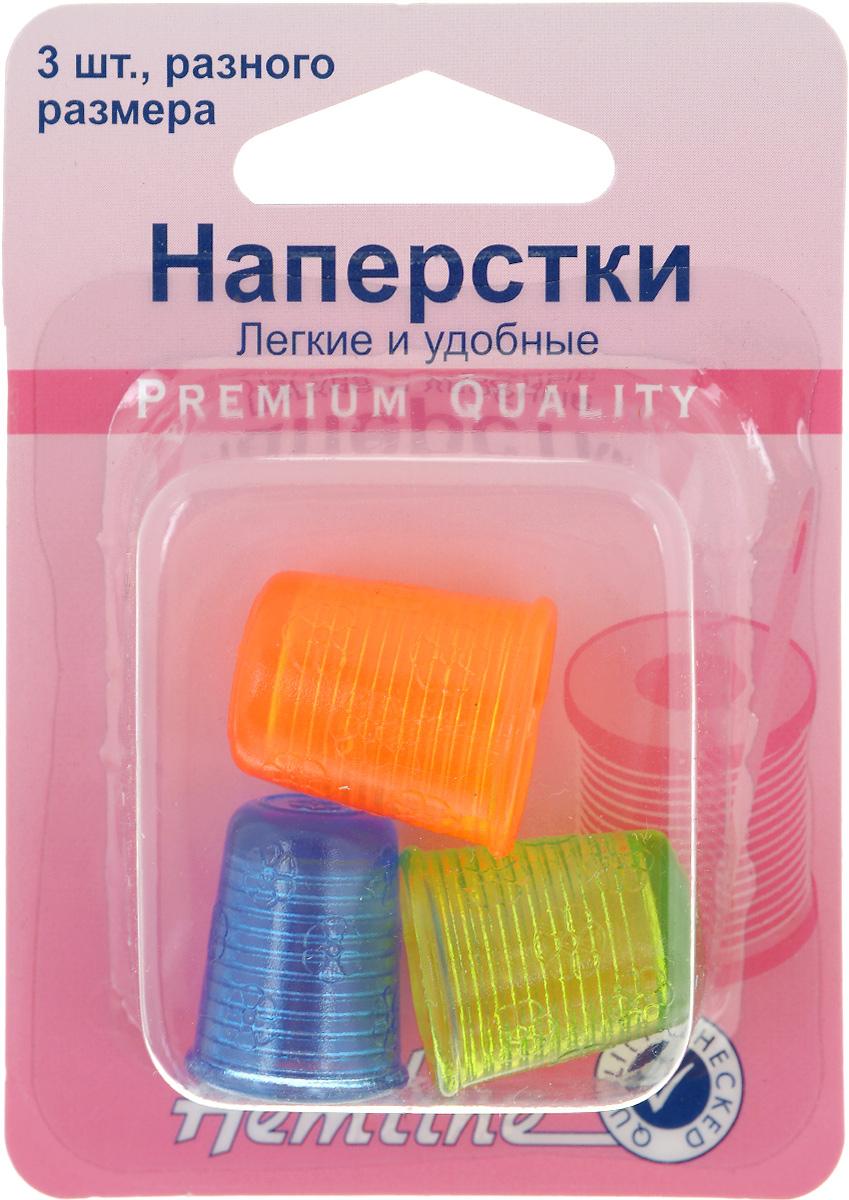 Наперстки Hemline, 3 шт226.AЛегкие и очень удобные наперстки Hemline подходят для всех видов ручного шитья. Мягкие на ощупь и слегка упругие, они подходят всем, независимо от толщины пальцев. Наперстки выполнены из прочного силикона. В комплекте 3 наперстка разного размера.