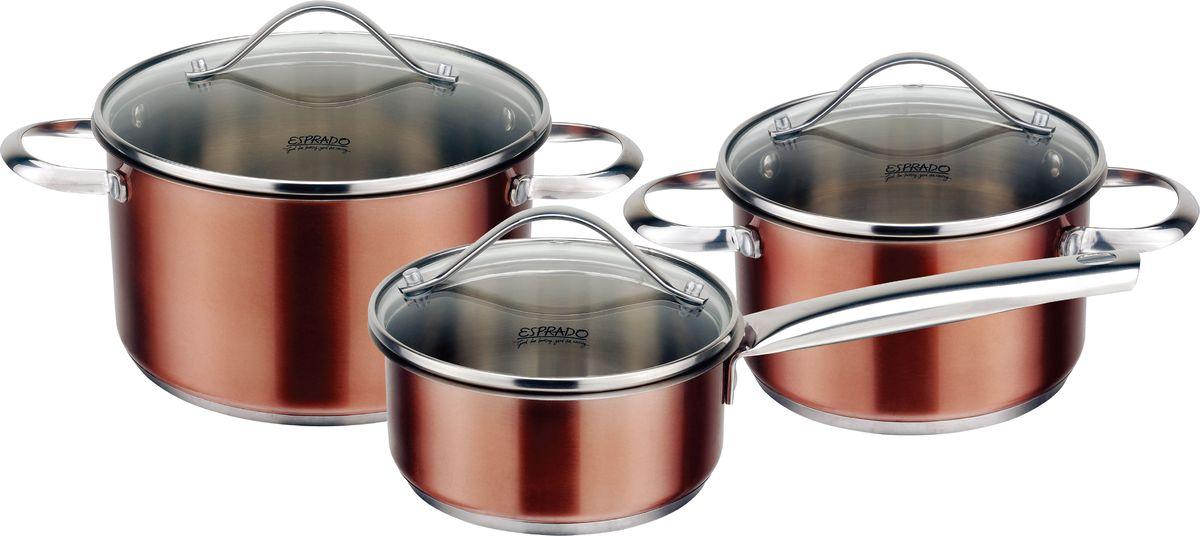 Набор посуды для приготовления Esprado Guarda, 6 предметов. GUR6000E133GUR6000E133Набор посуды для приготовления из высокочественной нержавеющей стали. В комплекте: ковш с крышкой 14х6,5 см / 1,0 л, кастрюля с крышкой 16х9,5 см / 1,8 л, кастрюля с крышкой 20х11 см / 3,6 л. Материал: высококачественная нержавеющая сталь 18/10 Steelagen. Толщина стенок: 0,5 мм. Комбинированная крышка из термостойкого стекла и стали с паровыпуском. Внутри матовая полировка с отметками литража для точного соблюдения рецепта, снаружи цветное покрытие. Цвет покрытия: шоколадный. Аксессуары: стальные ручки, крепление клепочное. Try-ply bottom - трехслойное дно с термоаккумулирующей прослойкой из алюминия. Подходит для индукционных плит.