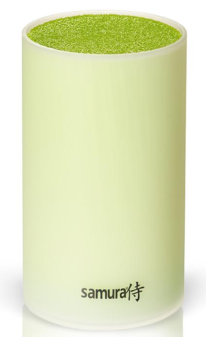 Подставка универсальная для ножей Samura, 18 см, цвет: салатовый. SKB-200G/16SKB-200G/16Все гениальное просто! Легкий пластиковый корпус пастельного салатового цвета и внутренняя часть в виде пластиковой щетки, которая легко вынимается. Гигиеничное хранение: корпус и щетку можно мыть под проточной водой и в посудомоечной машине. Лезвия ножей при хранении не касаются друг друга, тем самым максимально сохраняя свою остроту. Подставка вместительная от 5 до 9 ножей, в зависимости от размера ножей в ней свободно помещаются.Простой уход и гигиеничность, в отличие от деревянных подставок с прорезями, которые со временем начинают гнить от влаги. Браш-подставку легко вымыть, достав пластиковый накопитель-щетку, под проточной водой или в посудомоечной машине. Вес - 1000 г Универсальная браш-подставка для компактного, гигиеничного и бережного хранения стальных и керамических ножей. Утонченный цвет. Уникальность, и в то же время, простота конструкции, позволяющей бережно хранить одновременно ножи со стальными и керамическими лезвиями. Емкость,в зависимости от размера ножей в...