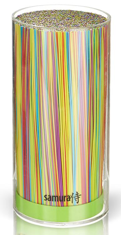 Подставка универсальная для ножей Samura, 22,5 см, цвет: салатовый. SKB-400G/16SKB-400G/16Все гениальное просто! Легкий пластиковый корпус пастельного салатового цвета и внутренняя часть в виде пластиковой щетки, которая легко вынимается. Гигиеничное хранение: корпус и щетку можно мыть под проточной водой и в посудомоечной машине. Лезвия ножей при хранении не касаются друг друга, тем самым максимально сохраняя свою остроту. Подставка вместительная от 5 до 9 ножей, в зависимости от размера ножей в ней свободно помещаются. Увеличенной высоты, для большего комфорта работы.Простой уход и гигиеничность, в отличие от деревянных подставок с прорезями, которые со временем начинают гнить от влаги. Браш-подставку легко вымыть, достав пластиковый накопитель-щетку, под проточной водой или в посудомоечной машине. Вес - 1000 г Универсальная браш-подставка для компактного, гигиеничного и бережного хранения стальных и керамических ножей. Утонченный цвет. Уникальность, и в то же время, простота конструкции, позволяющей бережно хранить одновременно ножи со стальными и керамическими...