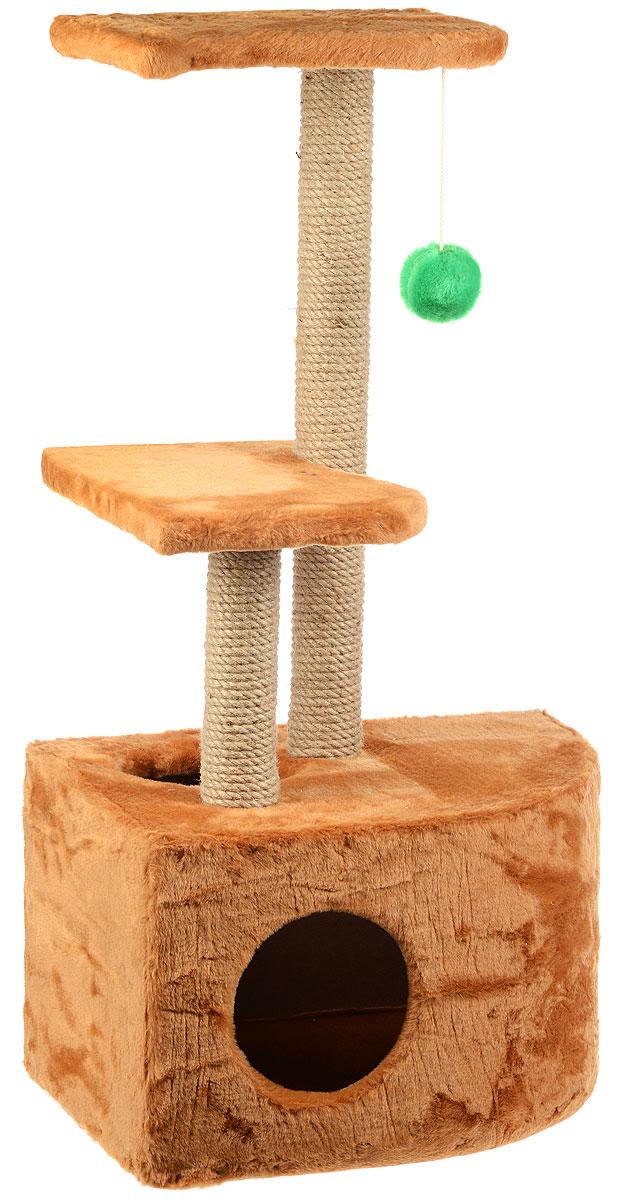Домик-когтеточка ЗооМарк Мурзик, угловой, с полками, цвет: светло-коричневый, бежевый, 51 х 37 х 99 см133Домик-когтеточка ЗооМарк Мурзик выполнен из высококачественного дерева и обтянут искусственным мехом. Изделие предназначено для кошек. Ваш домашний питомец будет с удовольствием точить когти о специальные столбики, изготовленные из джута. А отдохнуть он сможет либо на полках, либо в расположенном внизу домике. Общий размер: 51 х 37 х 99 см. Размер домика: 51 х 37 х 31 см. Размер полок: 36 х 26 см.