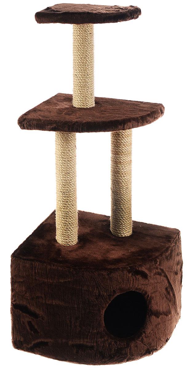 Домик-когтеточка ЗооМарк, угловой, 3-ярусный, цвет: темно-коричневый, бежевый, 42 х 42 х 105 см130Домик-когтеточка ЗооМарк выполнен из высококачественного дерева и обтянут искусственным мехом. Изделие предназначено для кошек. Домик имеет 3 яруса. Ваш домашний питомец будет с удовольствием точить когти о специальные столбики, изготовленные из джута. А отдохнуть он сможет либо на полках, либо в расположенном внизу домике. Общий размер: 42 х 42 х 105 см. Размер домика: 42 х 42 х 31 см. Размер большой полки: 35 х 35 см. Размер малой полки: 25 х 25 см.