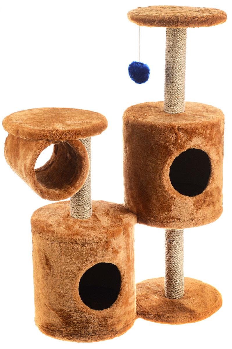 Игровой комплекс для кошек ЗооМарк Базилио, цвет: коричневый, бежевый, 70 х 31 х 97 см145Игровой комплекс для кошек ЗооМарк Базилио выполнен из высококачественного дерева и обтянут искусственным мехом. Изделие предназначено для кошек. Ваш домашний питомец будет с удовольствием точить когти о специальные столбики, изготовленные из джута. А отдохнуть он сможет либо на полках разной высоты, либо в домиках. Также комплекс оснащен подвесной игрушкой, привлекающей внимание кошки. Общий размер: 70 х 31 х 97 см. Размер домиков: 31 х 31 х 32 см. Диаметр полок: 31 см.