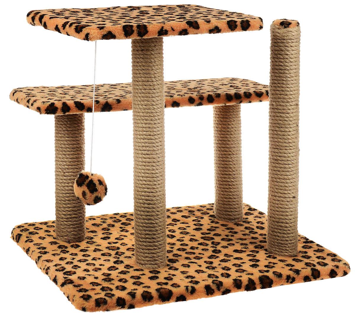 Игровой комплекс для кошек Меридиан, с игрушкой и когтеточками, цвет: коричневый, черный, бежевый, 61 х 41 х 53 смК611 ЛеИгровой комплекс поможет сохранить мебель и ковры в доме от когтей вашего любимца, стремящегося удовлетворить свою естественную потребность точить когти. Изделие изготовлено из ДСП, искусственного меха и джута. Товар продуман в мельчайших деталях и, несомненно, понравится вашей кошке. Имеется 2 полки и игрушка, которая привлечет внимание питомца. Общий размер: 61 х 41 х 53 см. Размер полок: 41 х 26 см, 61 х 21 см. Высота полок: 53 см, 33 см.