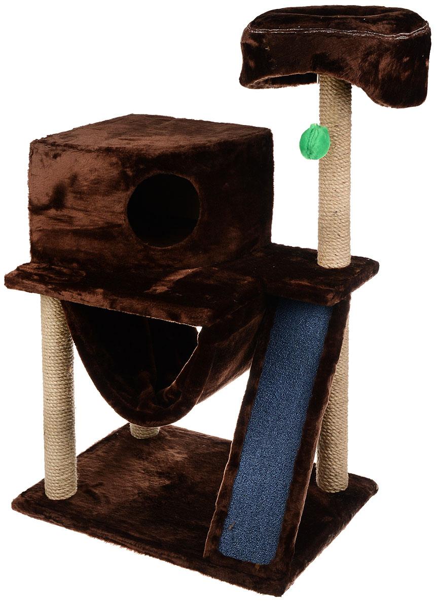 Игровой комплекс для кошек ЗооМарк Мурка, цвет: темно-коричневый, бежевый, 63 х 46 х 116 см125_мехИгровой комплекс для кошек ЗооМарк Мурка выполнен из высококачественного дерева и обтянут искусственным мехом. Изделие предназначено для кошек. Комплекс имеет 3 яруса. Ваш домашний питомец будет с удовольствием точить когти о специальные столбики, изготовленные из джута. Также точить когти поможет площадка, оснащенная вставкой из ковролина. А отдохнуть он сможет либо на полках, либо домике или гамаке. На одной из полок расположена игрушка, которая еще сильнее привлечет внимание питомца. Общий размер: 63 х 46 х 116 см. Размер домика: 37 х 37 х 25 см. Диаметр верхней полки: 30 см.